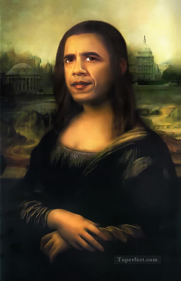 Barack Obama As Mona Lisa Fantasy Painting In Oil For Sale