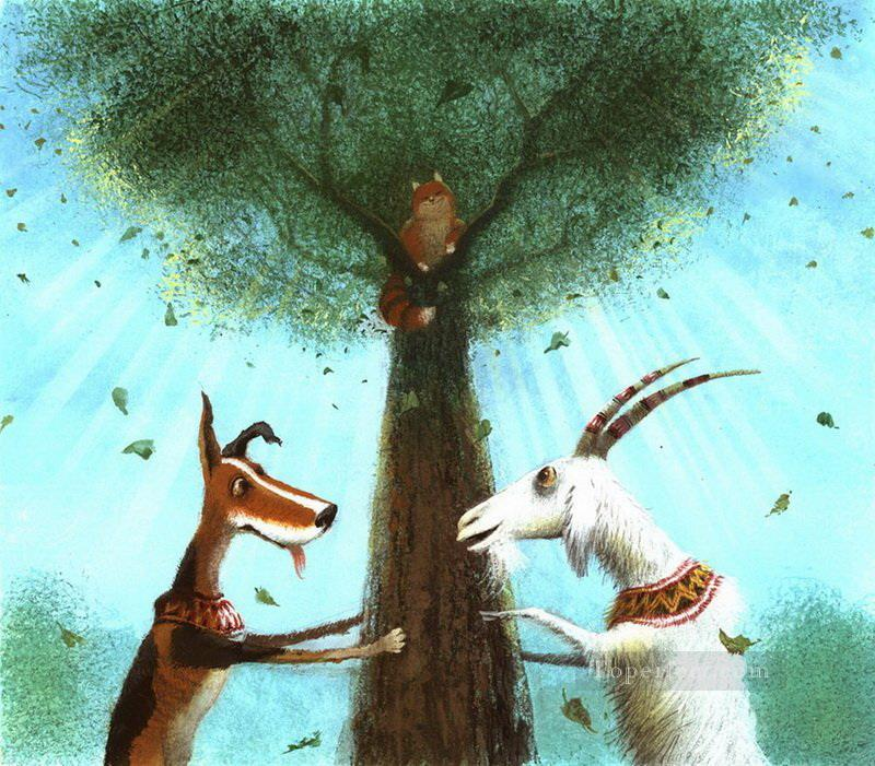 fairy tales dog and goat catch cat Fantasy Oil Paintings