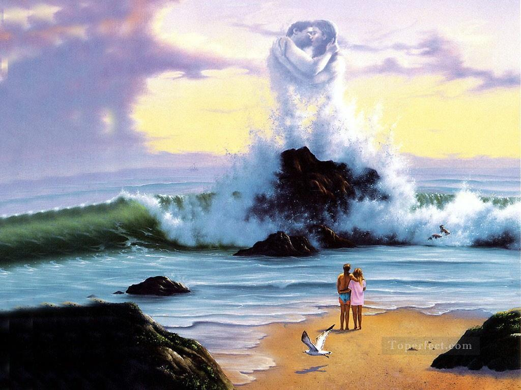 kissing waves Fantasy Oil Paintings