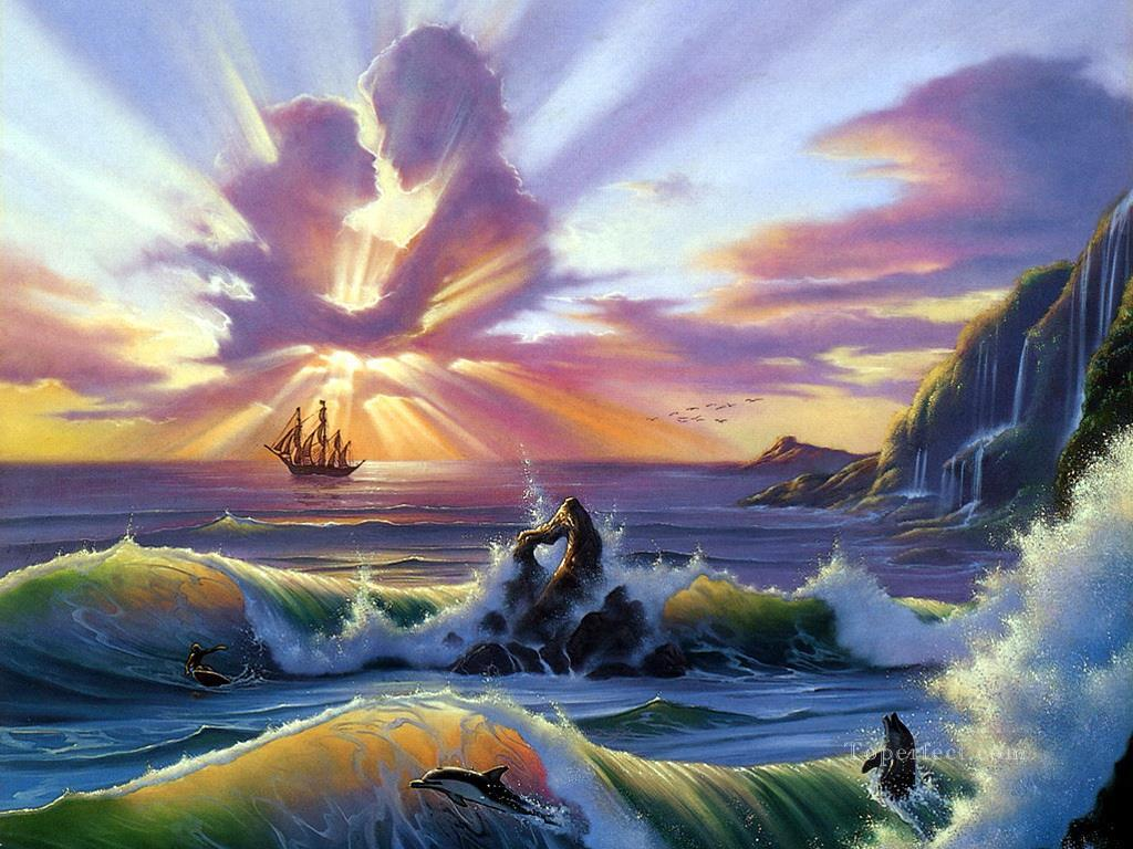 oceanic lovers fantasy painting in oil for sale