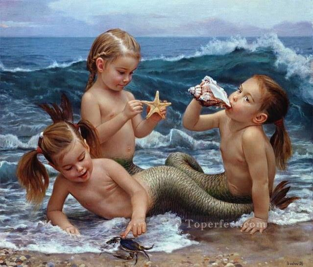 realistic mermaid Fantasy Oil Paintings
