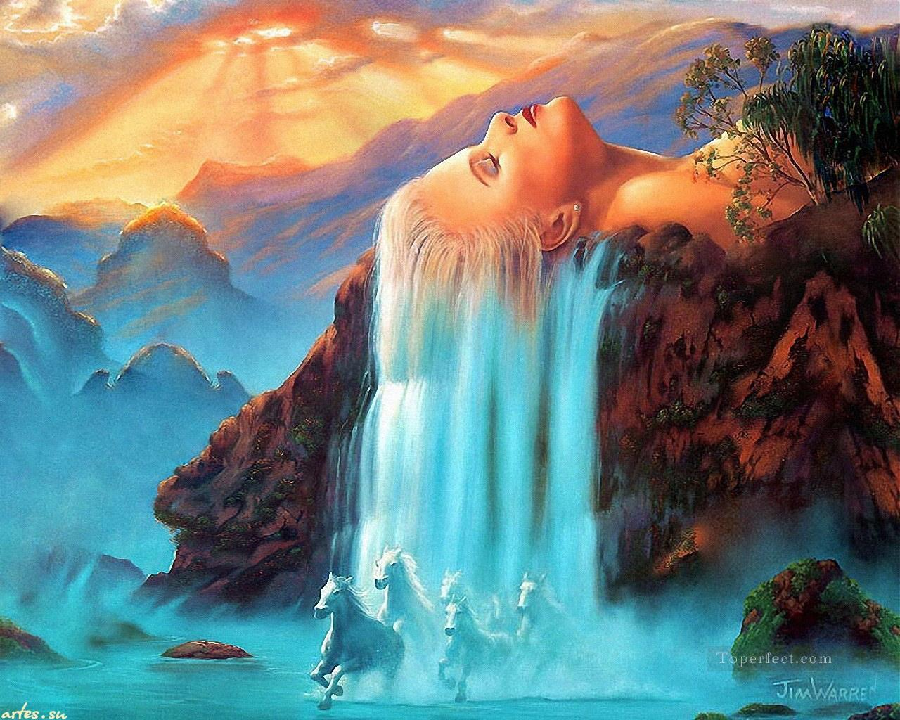 waterfall and horse 20 Fantasy Painting in Oil for Sale
