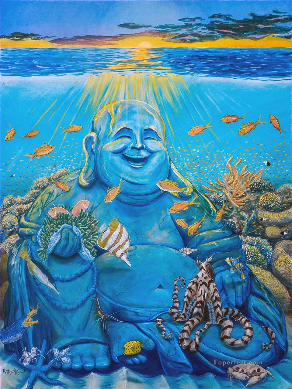 Laughing Buddha Reef fish Oil Paintings