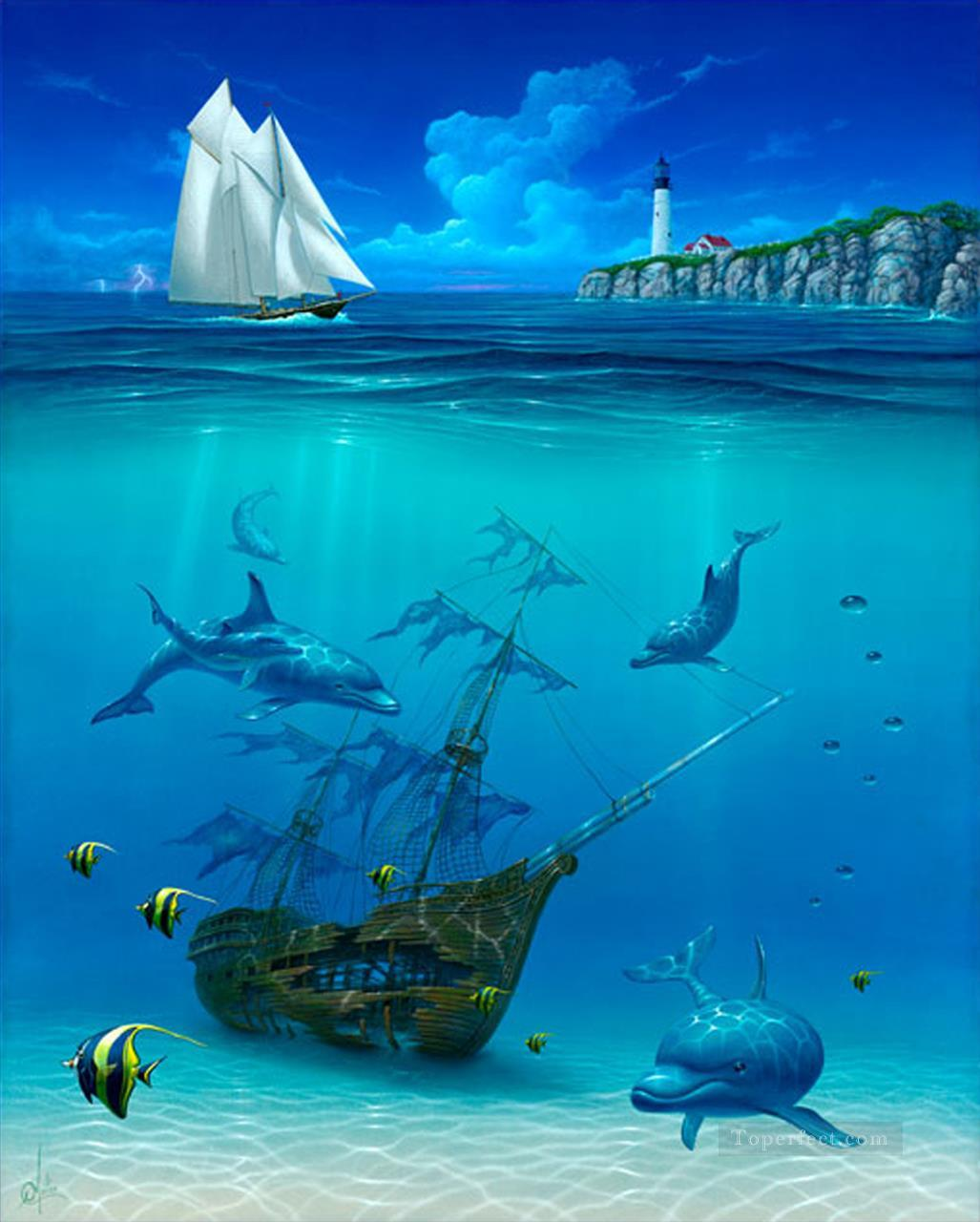 Sail Away under sea Oil Paintings