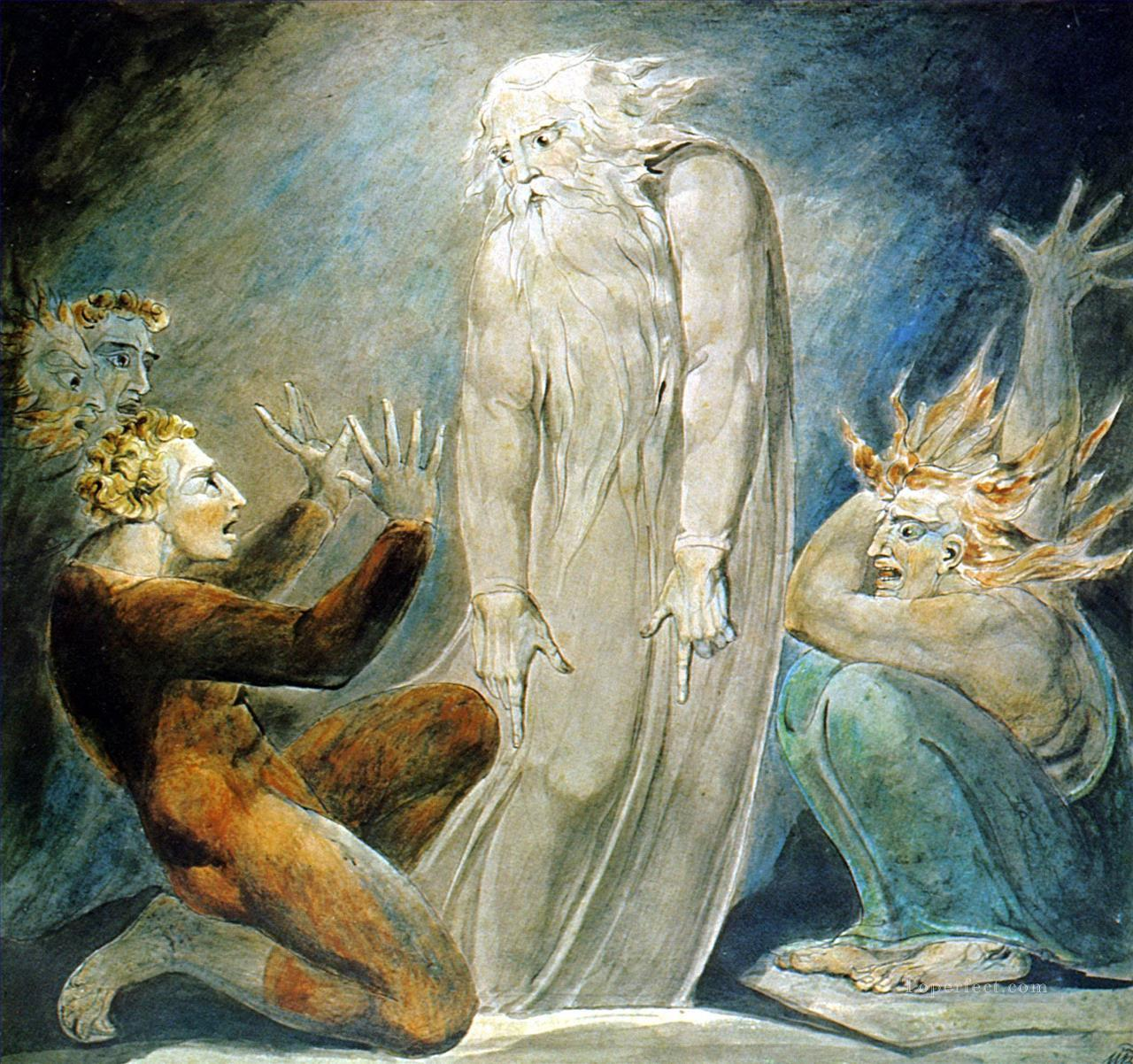 The Witch of Endor William Blake 2 Oil Paintings