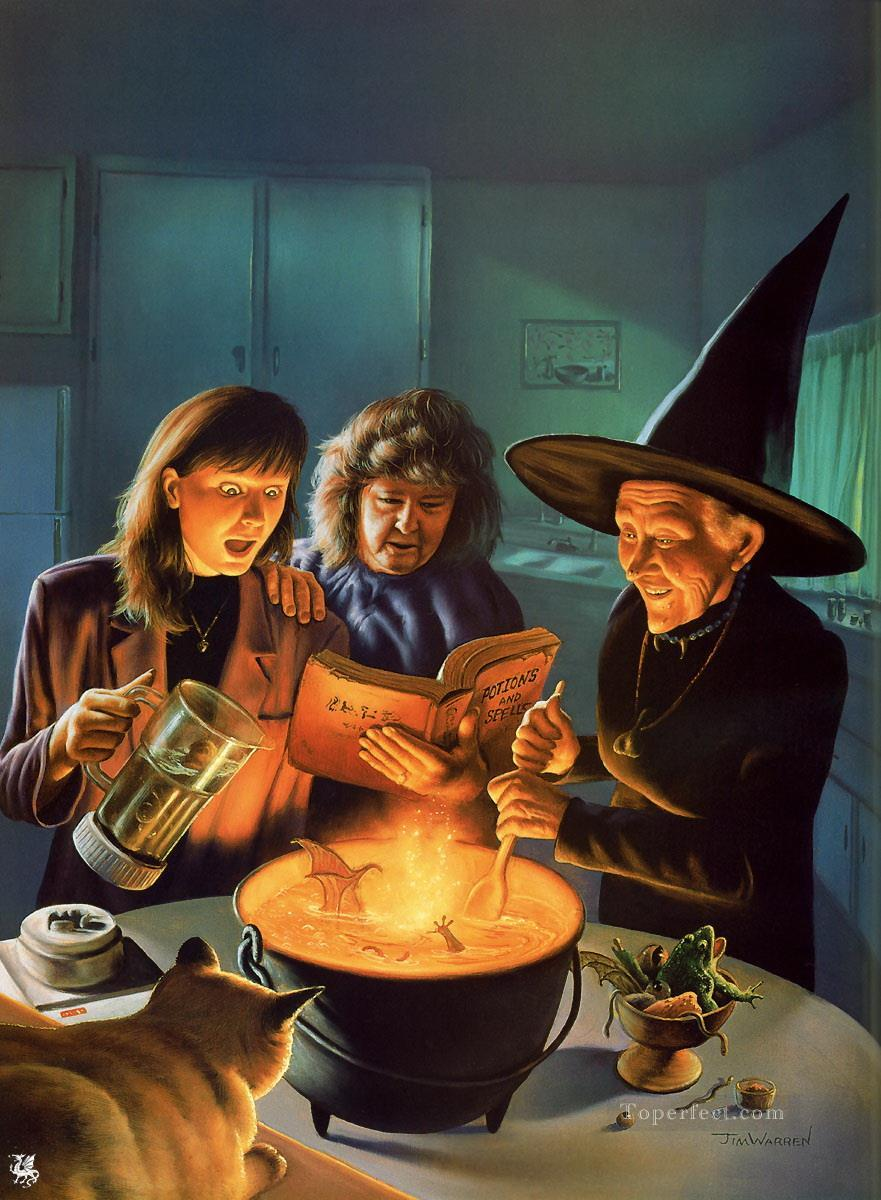 Warren Painted Worlds Witch fantastic Oil Paintings