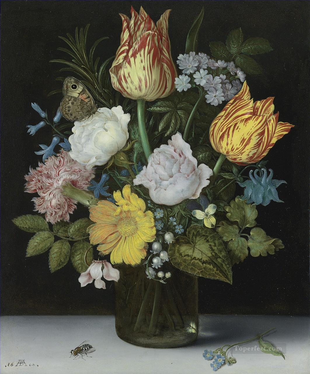 Bosschaert Ambrosius Flowers and Insect Oil Paintings