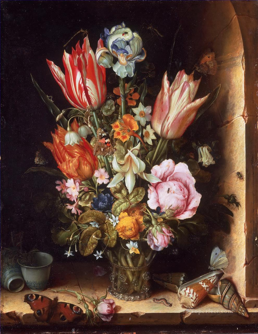 Bosschaert Ambrosius Still life with flowers and sea shells Oil Paintings