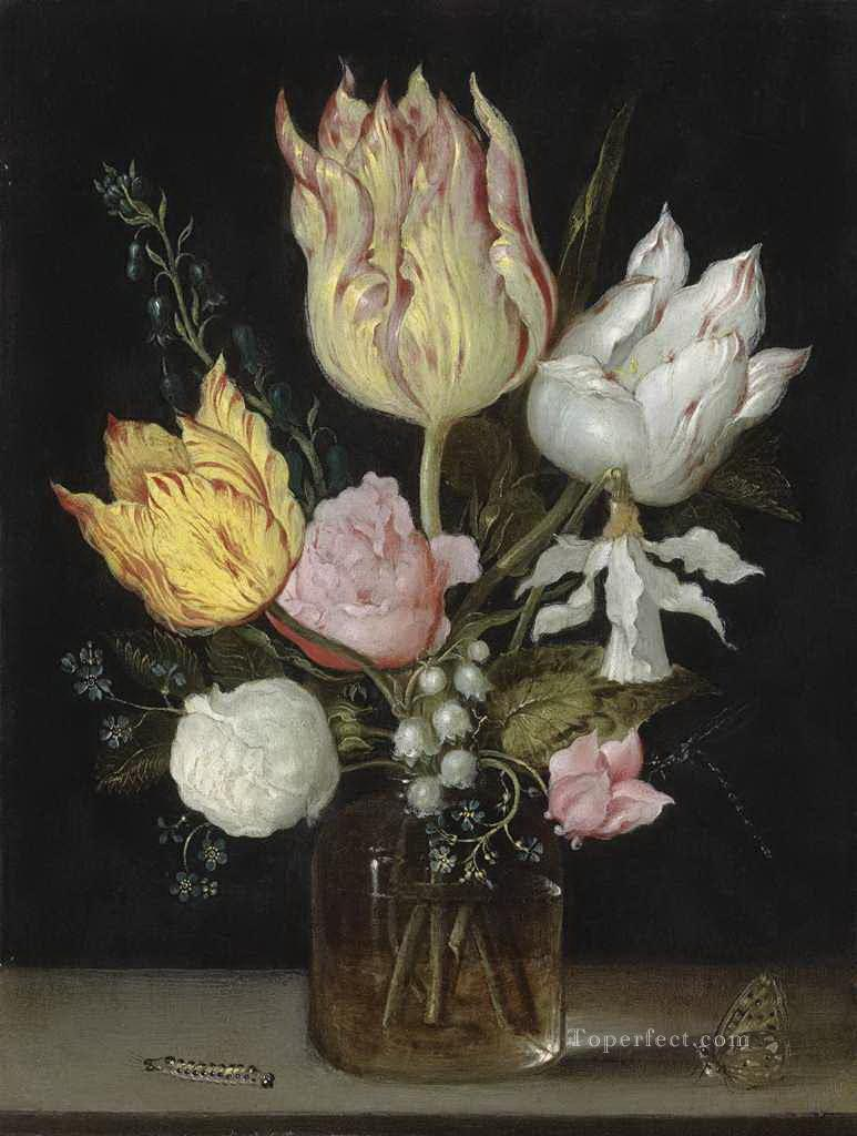 Bosschaert Ambrosius i tulips roses bluebells narcissus tortuosis forg Oil Paintings