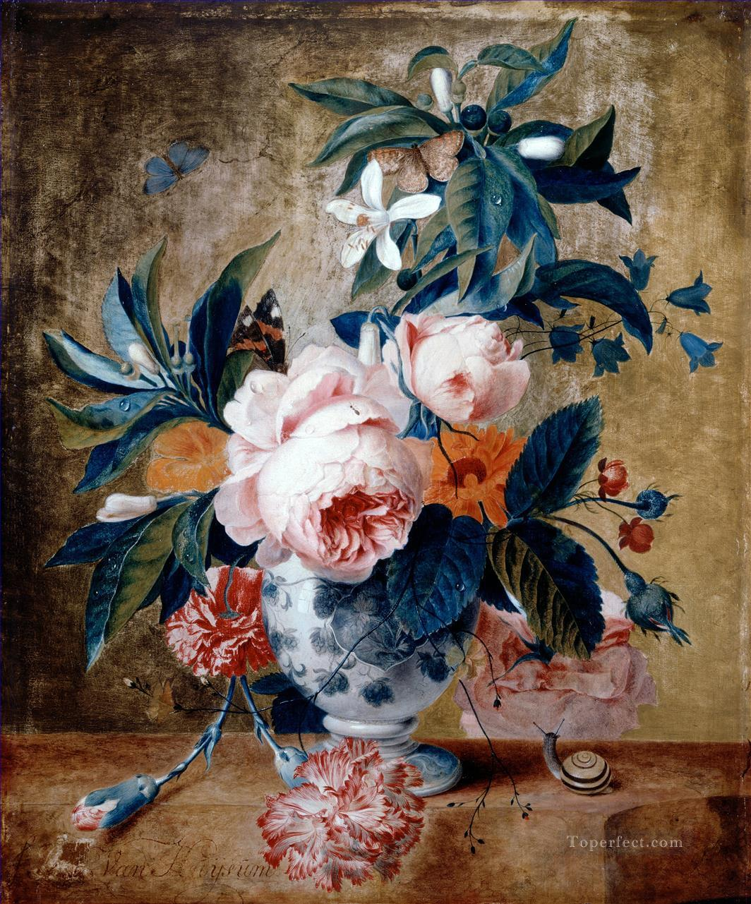 A Delft Vase with Flowers Francina Margaretha van Huysum still life Oil Paintings