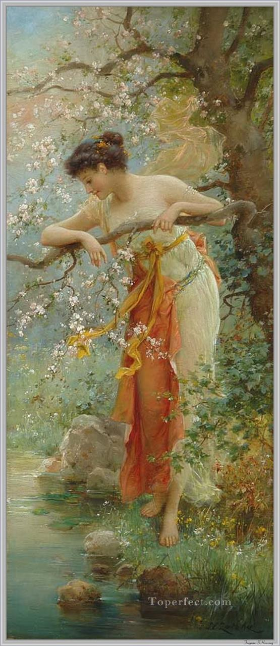 girl by stream Hans Zatzka classical flowers Oil Paintings