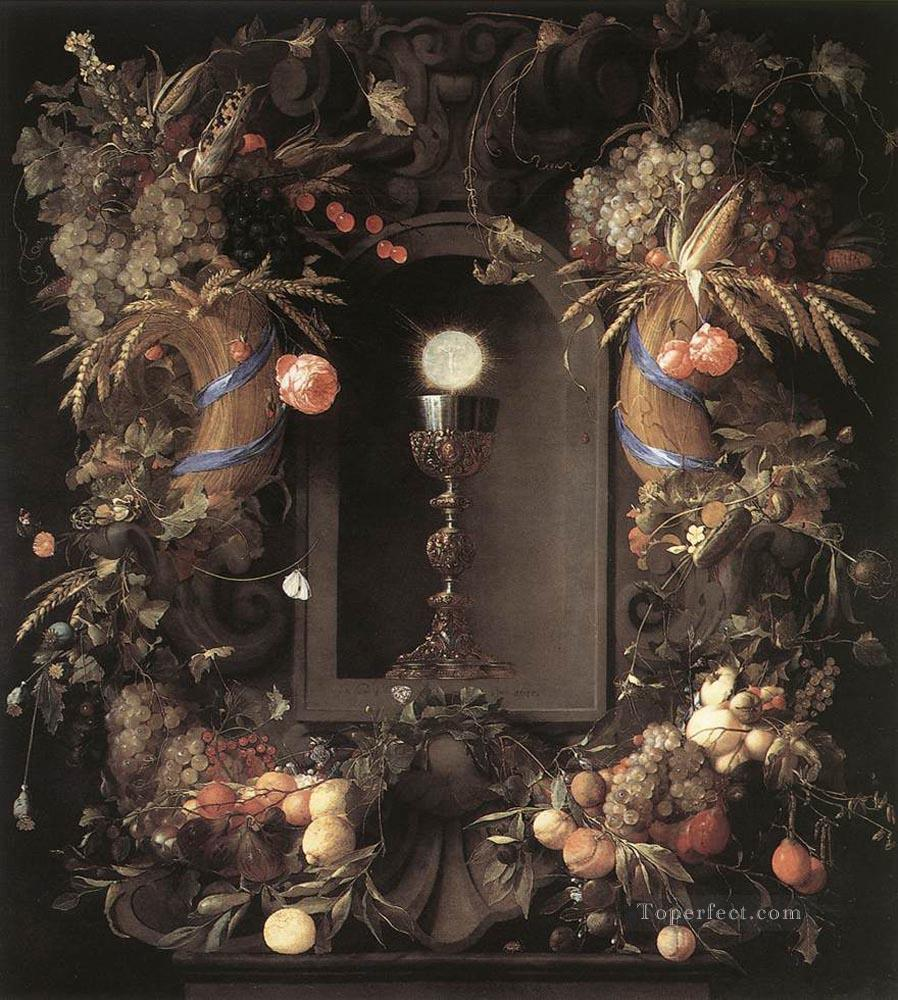 Eucharist In Fruit Wreath still lifes Jan Davidsz de Heem flower Oil Paintings