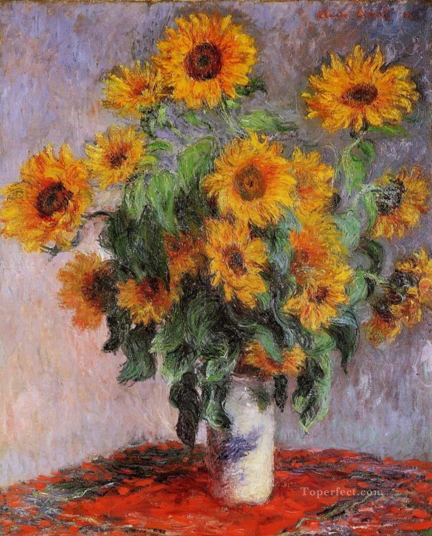 Bouquet of Sunflowers Claude Monet Impressionism Flowers Oil Paintings