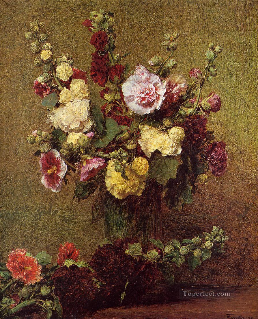 Holly hocks flower painter Henri Fantin Latour Oil Paintings