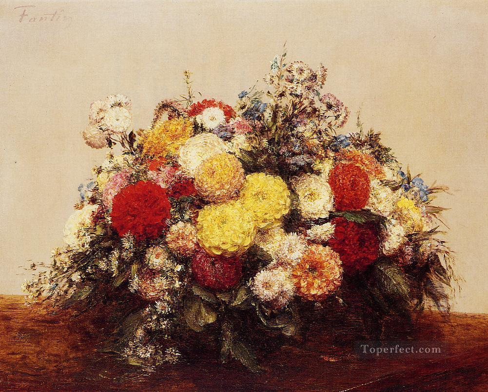 Large Vase of Dahlias and Assorted Flowers flower painter Henri Fantin Latour Oil Paintings