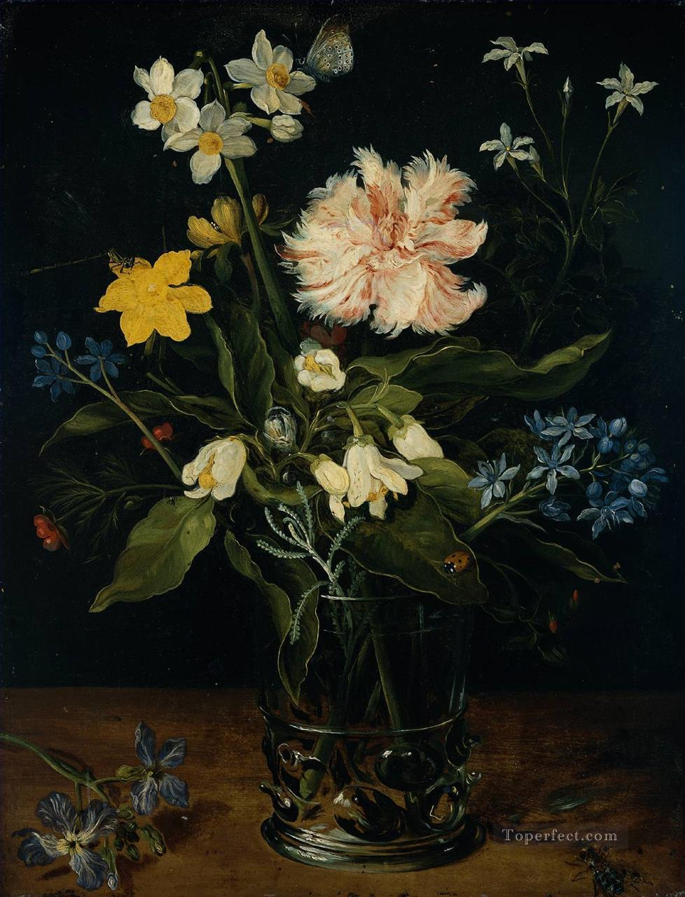 Still Life with Flowers in a Glass Flemish Jan Brueghel the Elder Oil Paintings