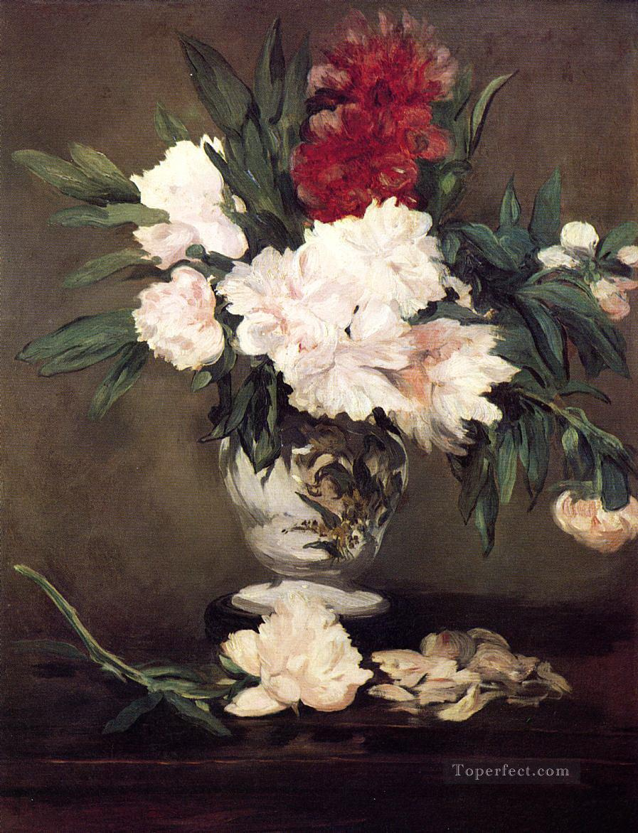 Vase of Peonies on a Small Pedestal Eduard Manet Impressionism Flowers Oil Paintings