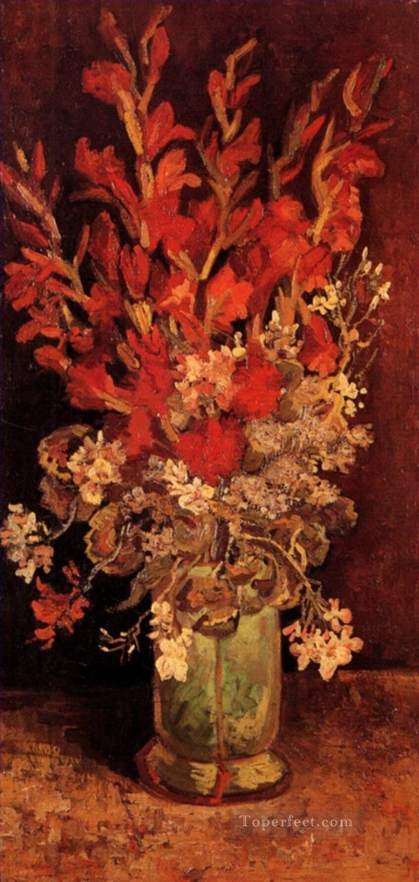 Vase with Gladioli and Carnations Vincent van Gogh Impressionism Flowers Oil Paintings