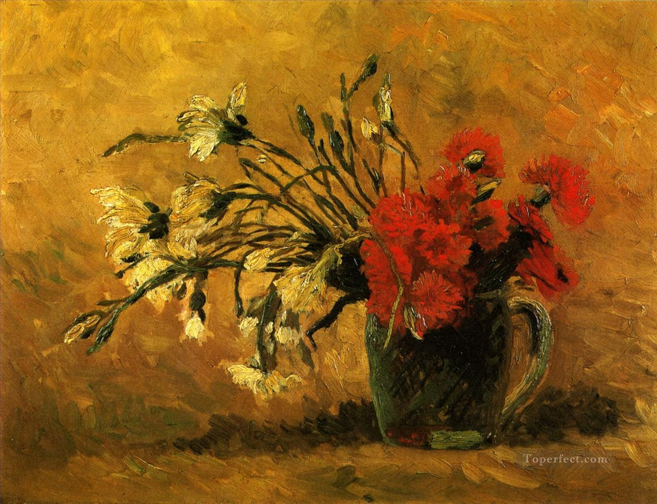 Vase with Red and White Carnations on a Yellow Background Vincent van Gogh Impressionism Flowers Oil Paintings
