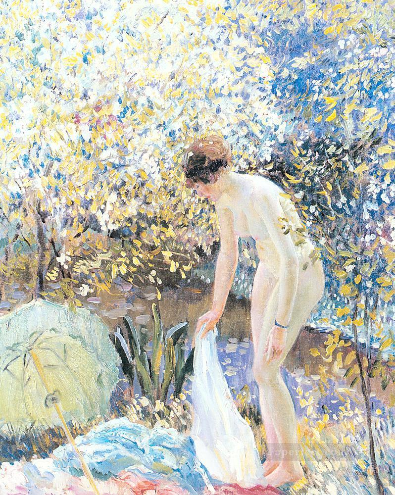 Cherry Blossoms Impressionist women Frederick Carl Frieseke Impressionism Flowers Oil Paintings