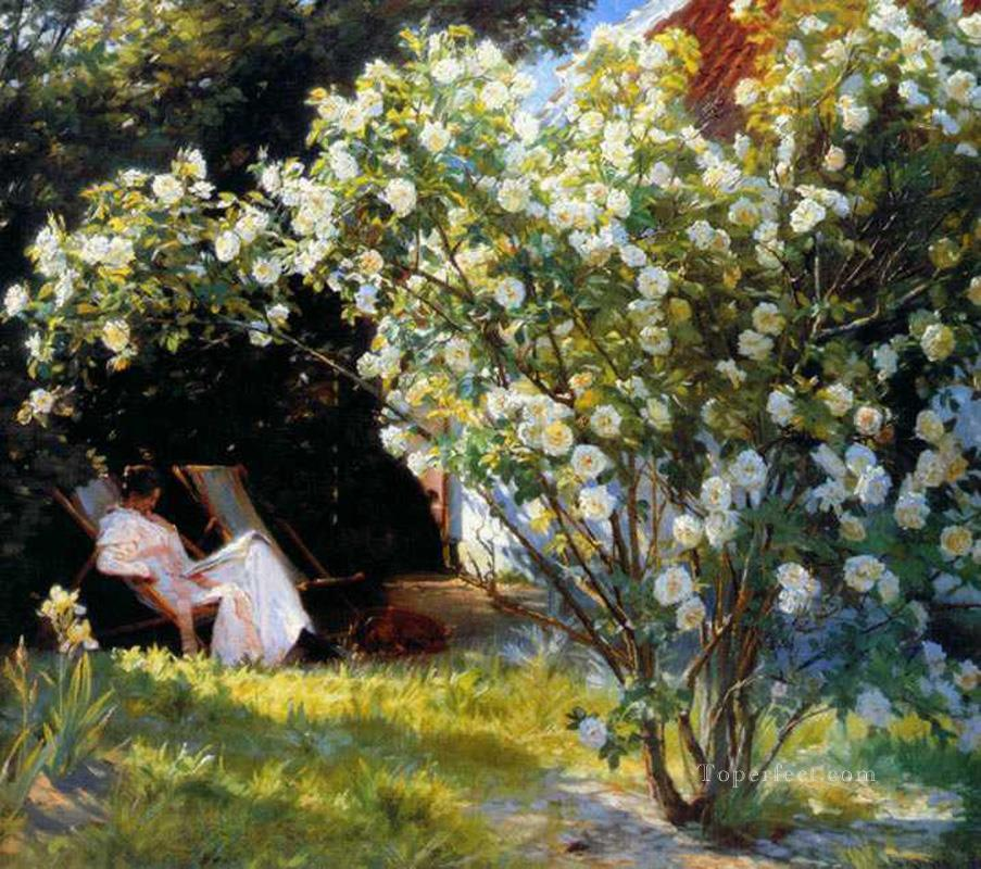Marie en el jardin Peder Severin Kroyer Impressionism Flowers Oil Paintings