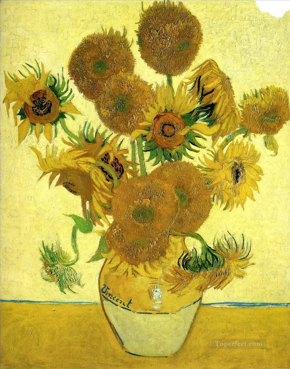 Still Life Vase with Fifteen Sunflowers Vincent van Gogh Impressionism Flowers Oil Paintings