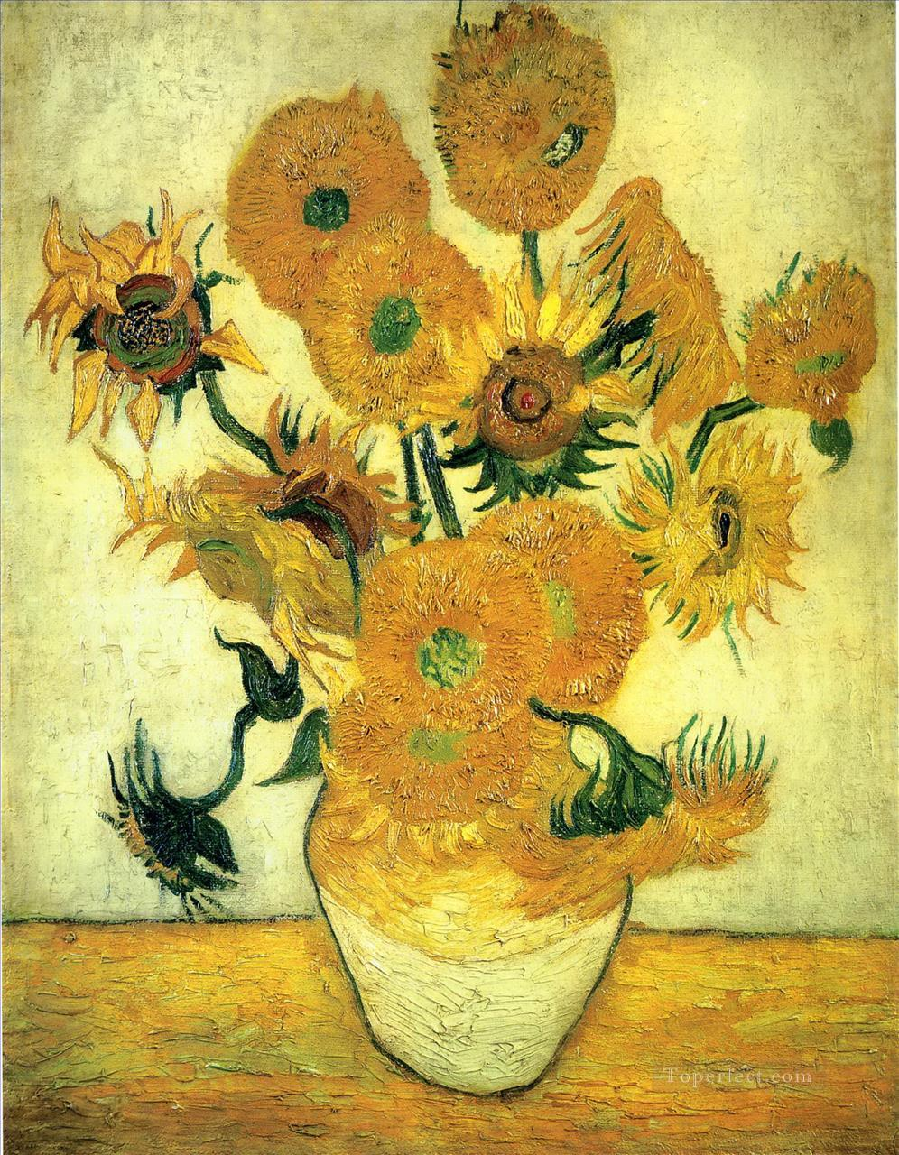 Still Life Vase with Fourteen Sunflowers Vincent van Gogh Impressionism Flowers Oil Paintings