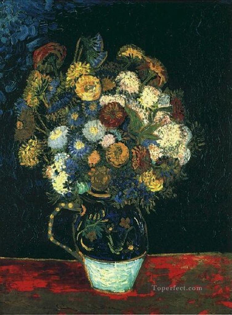 Still Life Vase with Zinnias Vincent van Gogh Impressionism Flowers Oil Paintings