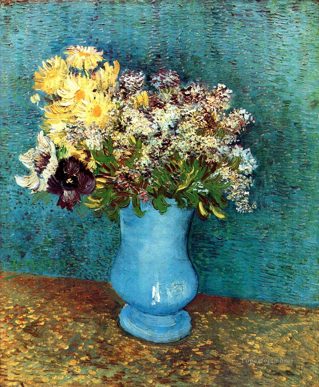 Vase with Flieder Margerites und Anemones Vincent van Gogh Impressionism Flowers Oil Paintings