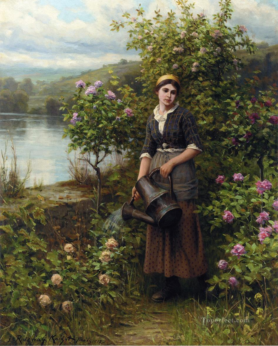 Watering the Garden countrywoman Daniel Ridgway Knight Impressionism Flowers Oil Paintings
