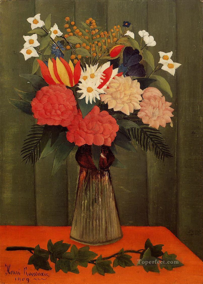 bouquet of flowers with an ivy branch 1909 Henri Rousseau floral decoration Oil Paintings