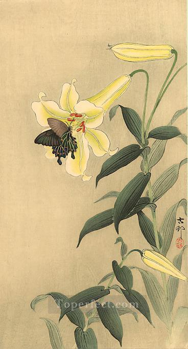 butterfly and lily Ohara Koson floral decoration Oil Paintings