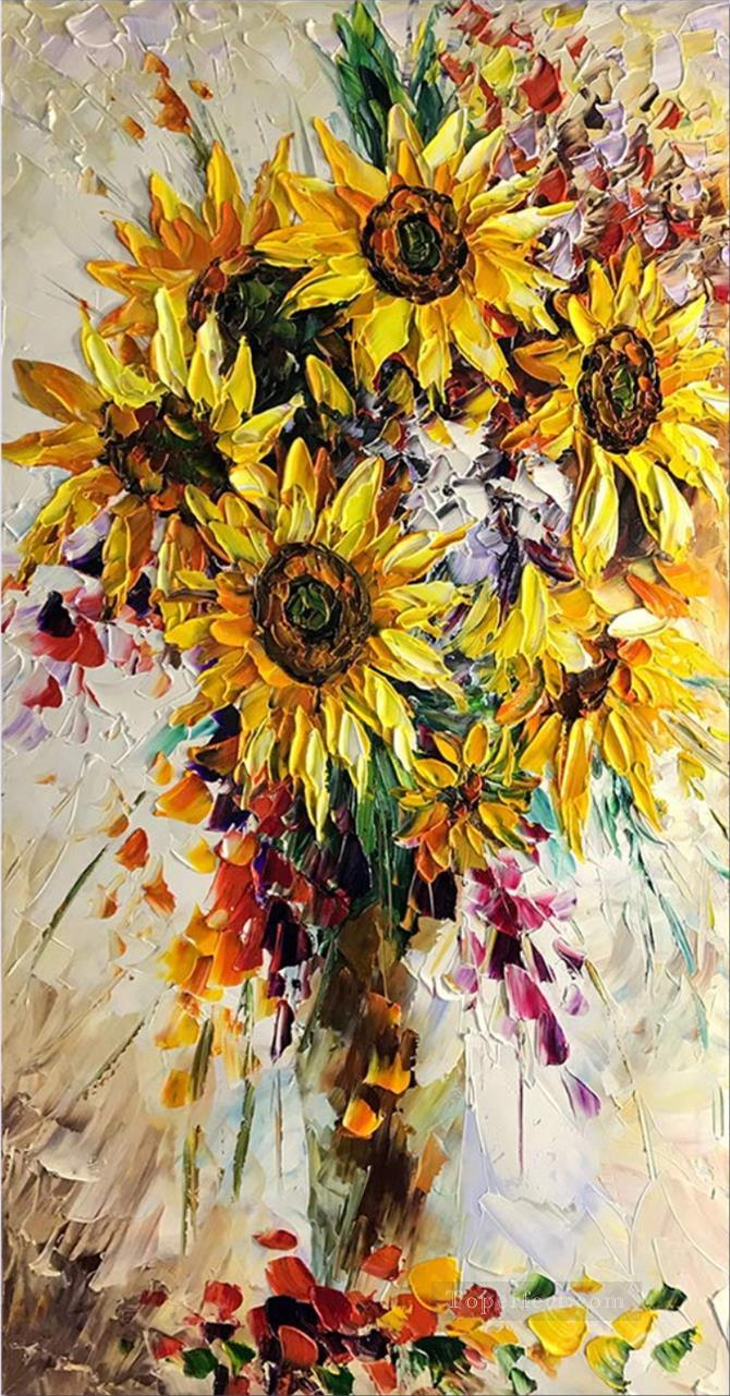 sunflowers in vase floral decoration Oil Paintings