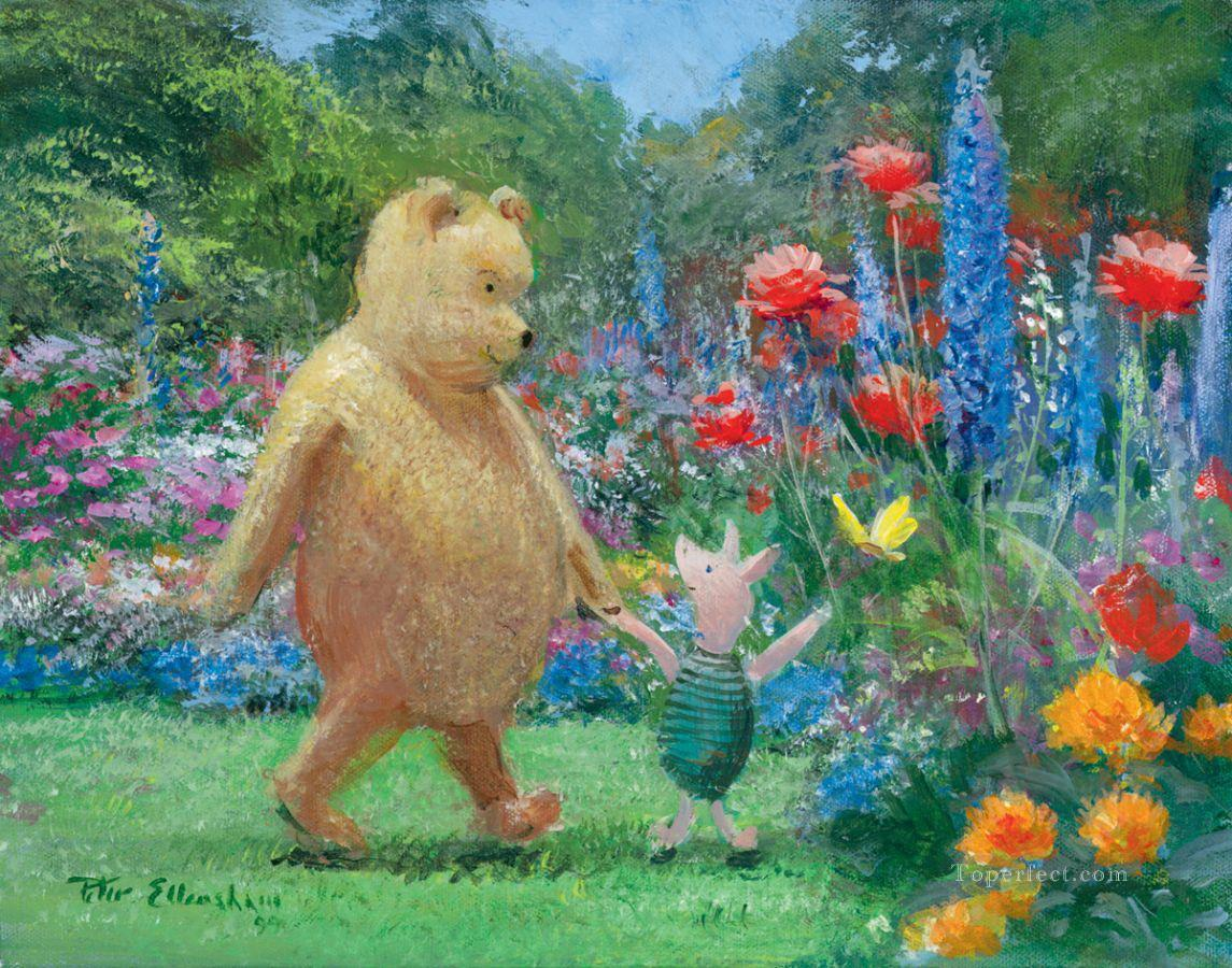 Pooh and Piglet in the bear Garden cartoon for kids Oil Paintings