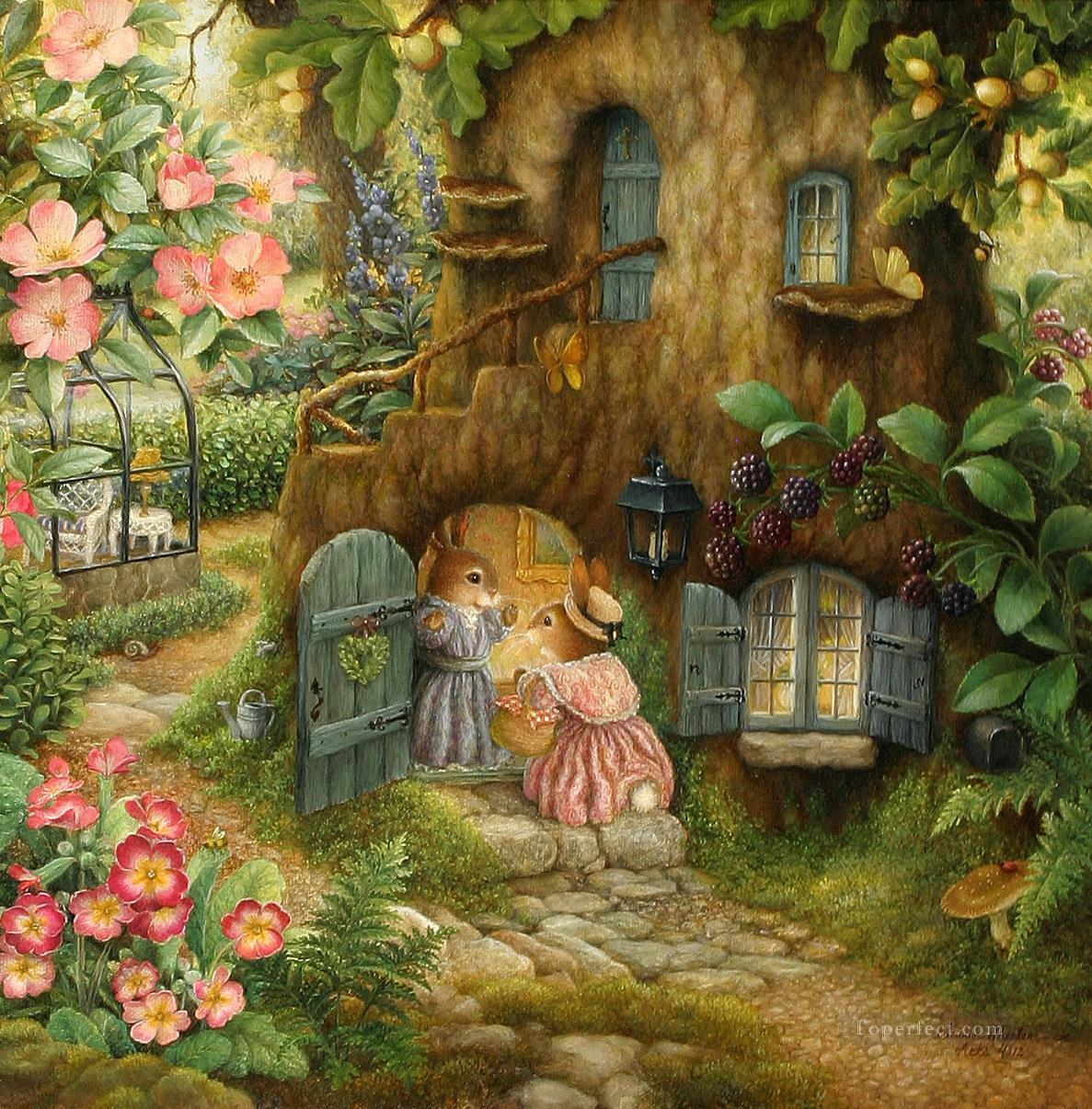 Country house of mouse cartoon for kids painting in oil for Arthouse jardin wallpaper