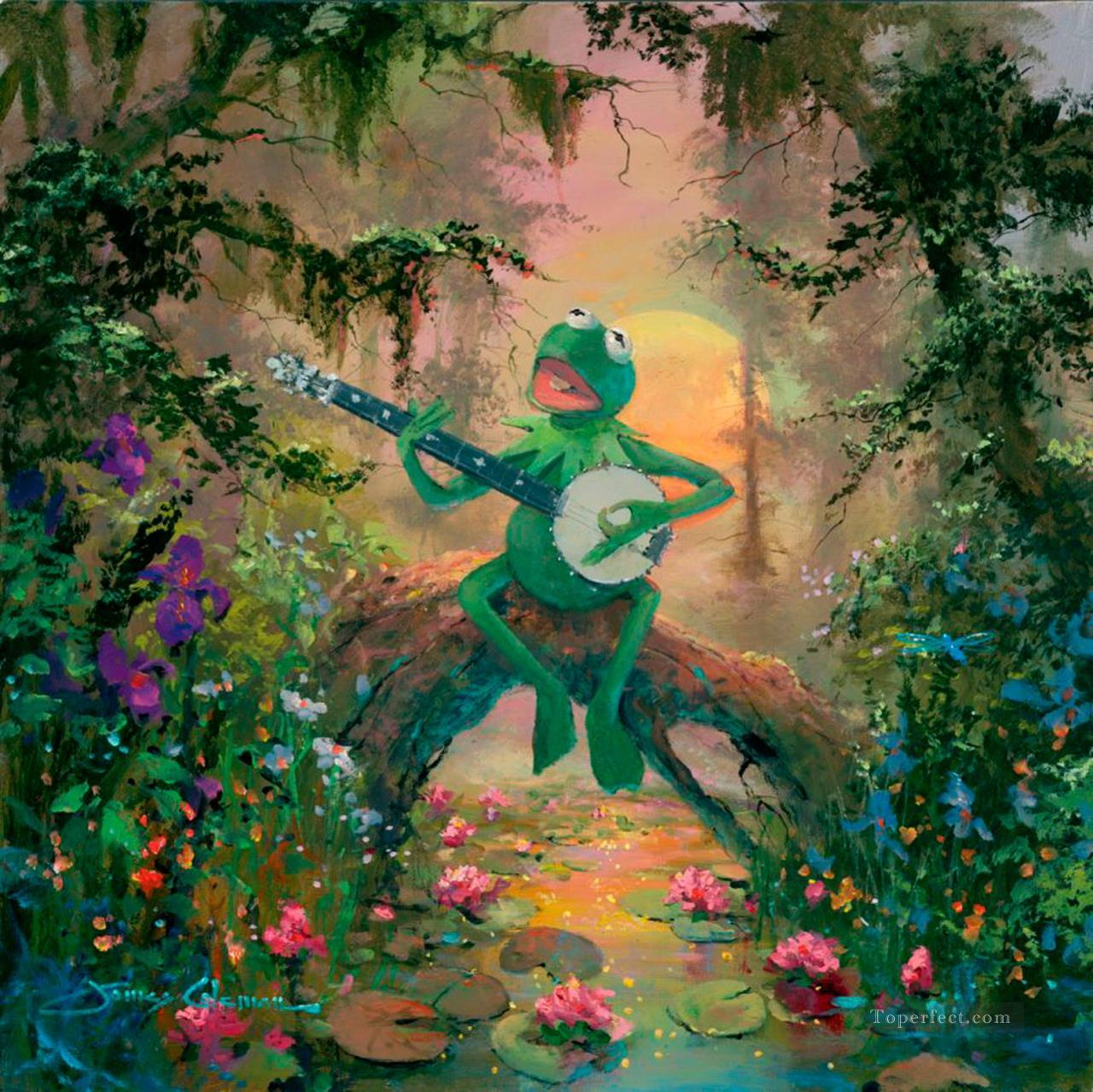 frog playing guitar cartoon for kids Painting in Oil for Sale