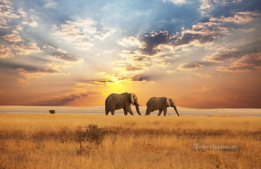 Elephants Walking on Autumn Grassland Sunset Painting from Photos to Art Oil Paintings