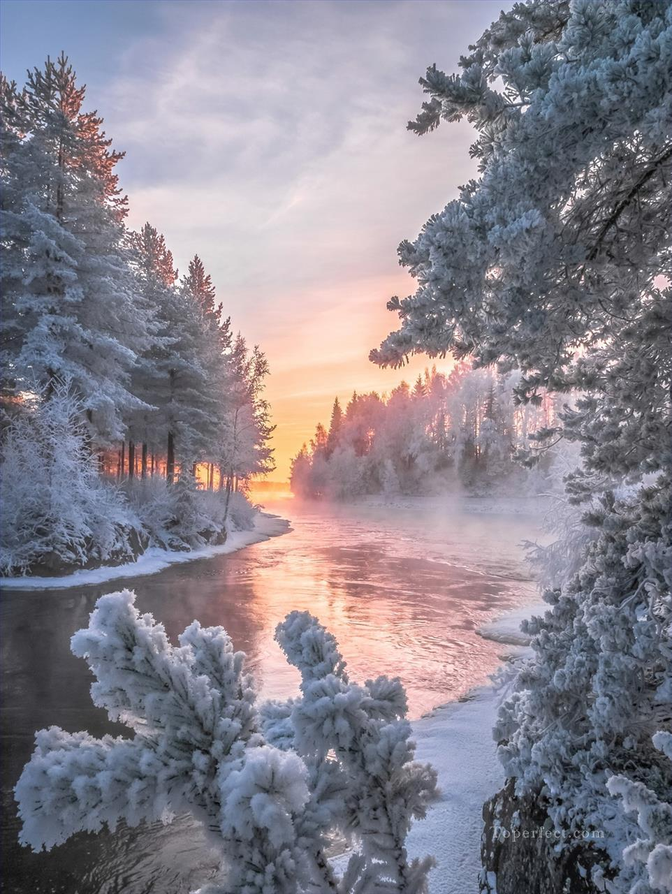 realistic photography 15 winter landscape Oil Paintings