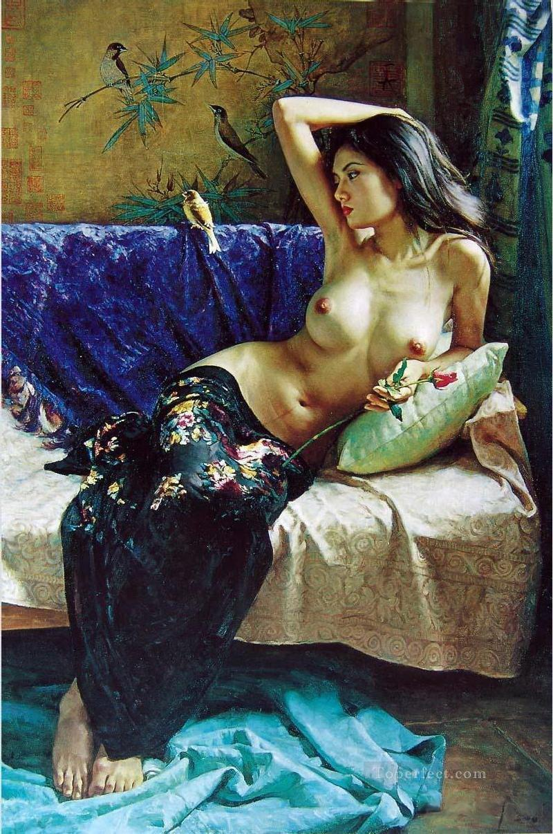 Chinese Girl Nude Bird Painting from Photos to Art Oil Paintings