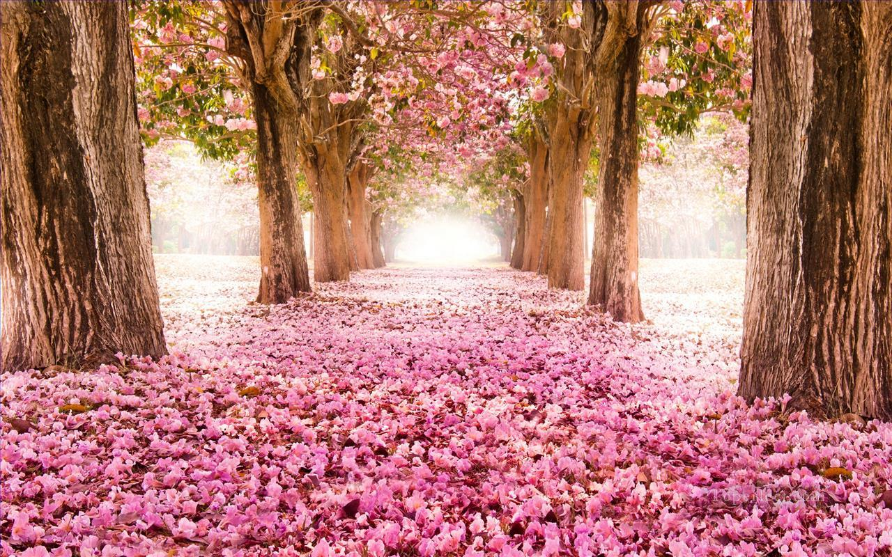 Pink Floral Path Trees Landscape Painting from Photos to Art Oil Paintings