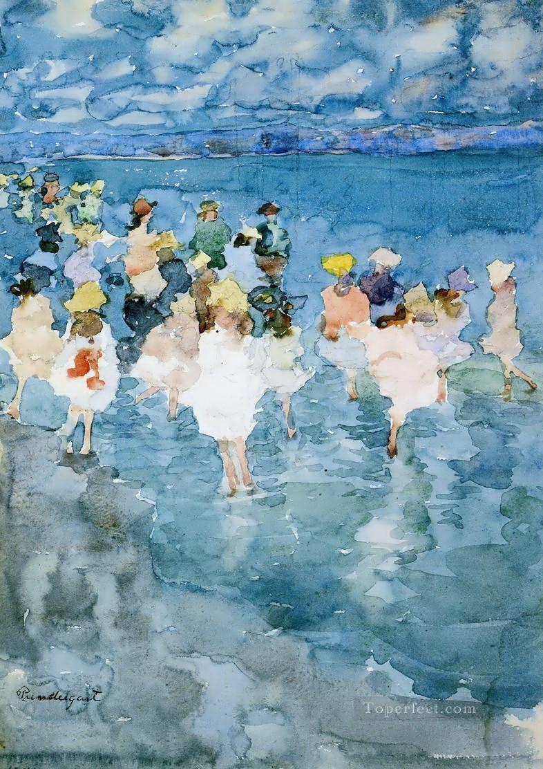 Maurice Prendergast Children at the beach Child impressionism Oil Paintings