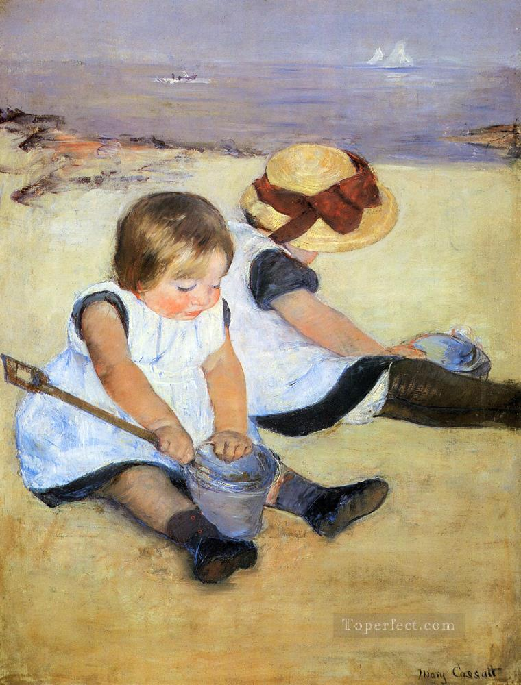 Children Playing On The Beach impressionism mothers children Mary Cassatt Oil Paintings