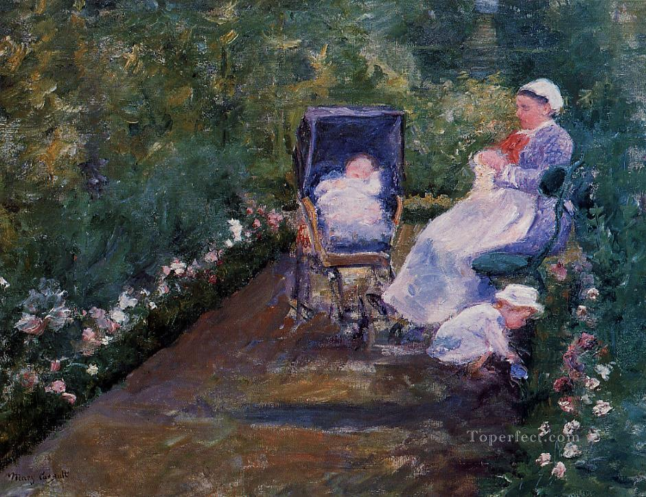Children in a Garden impressionism mothers children Mary Cassatt Oil Paintings