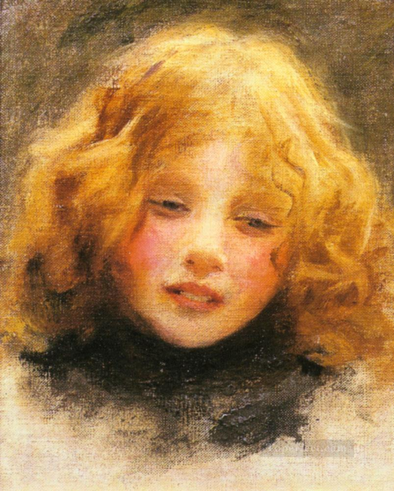Head Study Of A Young Girl idyllic children Arthur John Elsley impressionism Oil Paintings