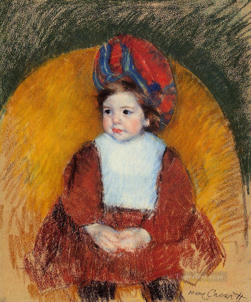 Margot in a Dark Red Costume Seated on a Round Backed Chair impressionism mothers children Mary Cassatt Oil Paintings