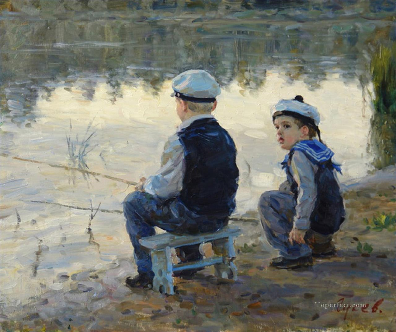 fishing boys VG 02 impressionism Oil Paintings