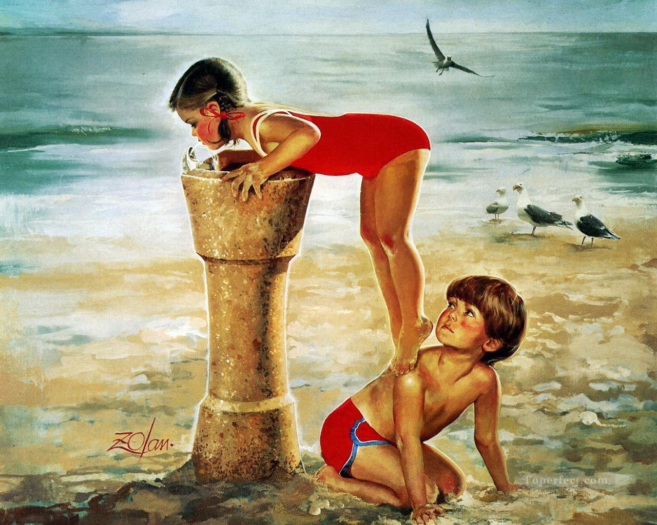 Kids Playing Beach Side Impressionism Oil Paintings