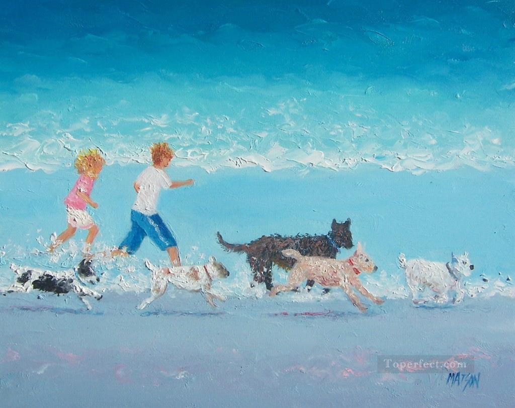 on Dogs Day Out beach Child impressionism Oil Paintings