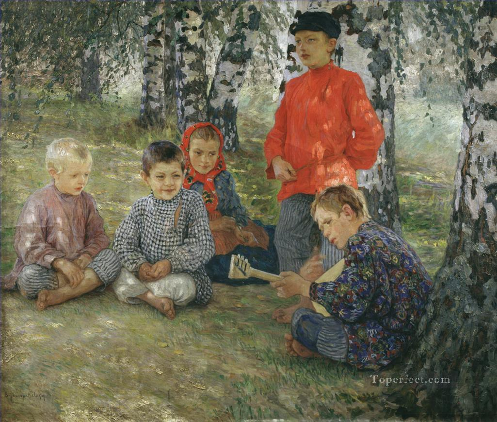 virtuozo Nikolay Bogdanov Belsky kids child impressionism Oil Paintings