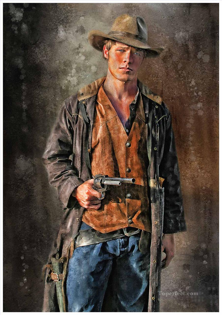 young COWBOY with gun Oil Paintings